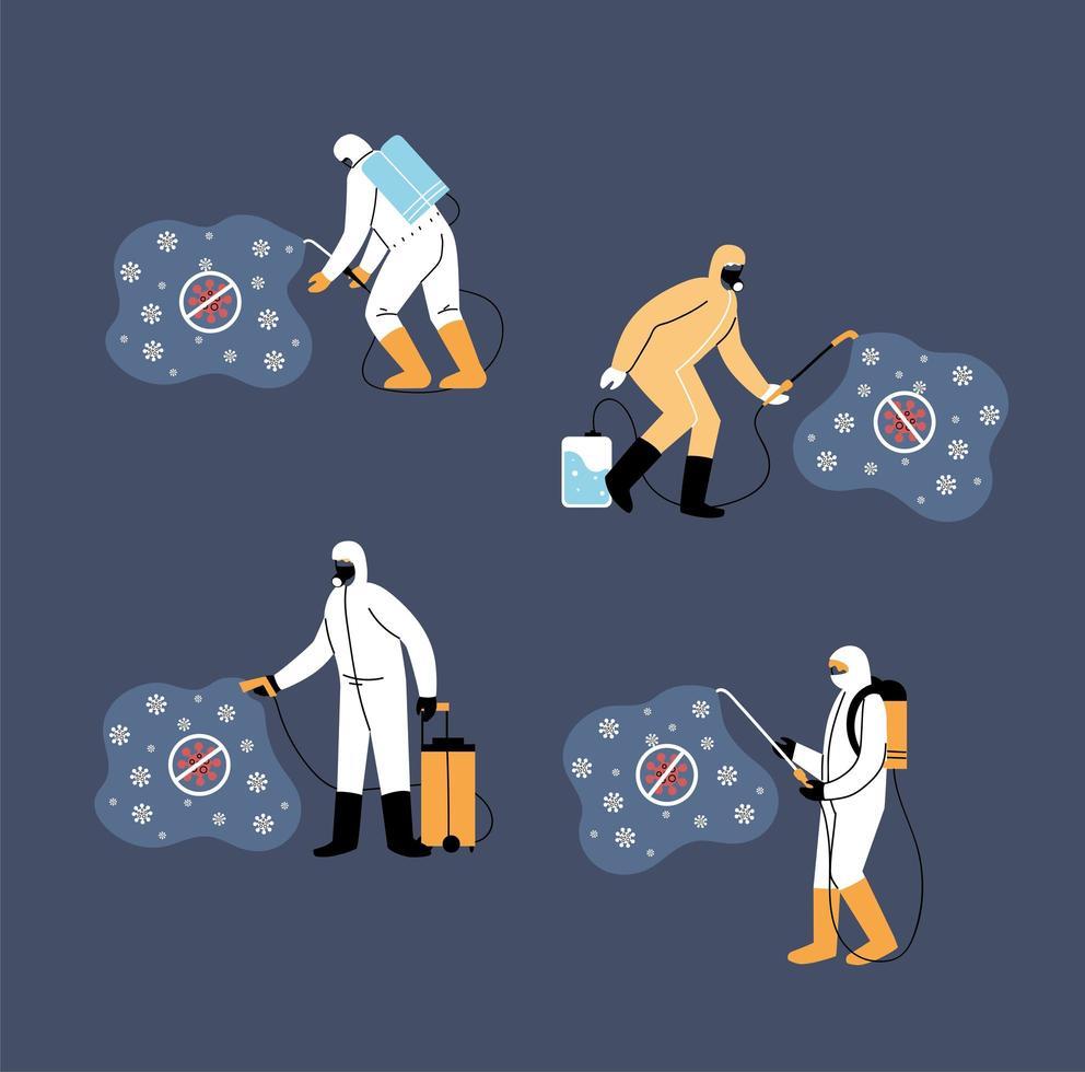 Arbeitsteams tragen Schutzanzug, Coronavirus-Desinfektion vektor