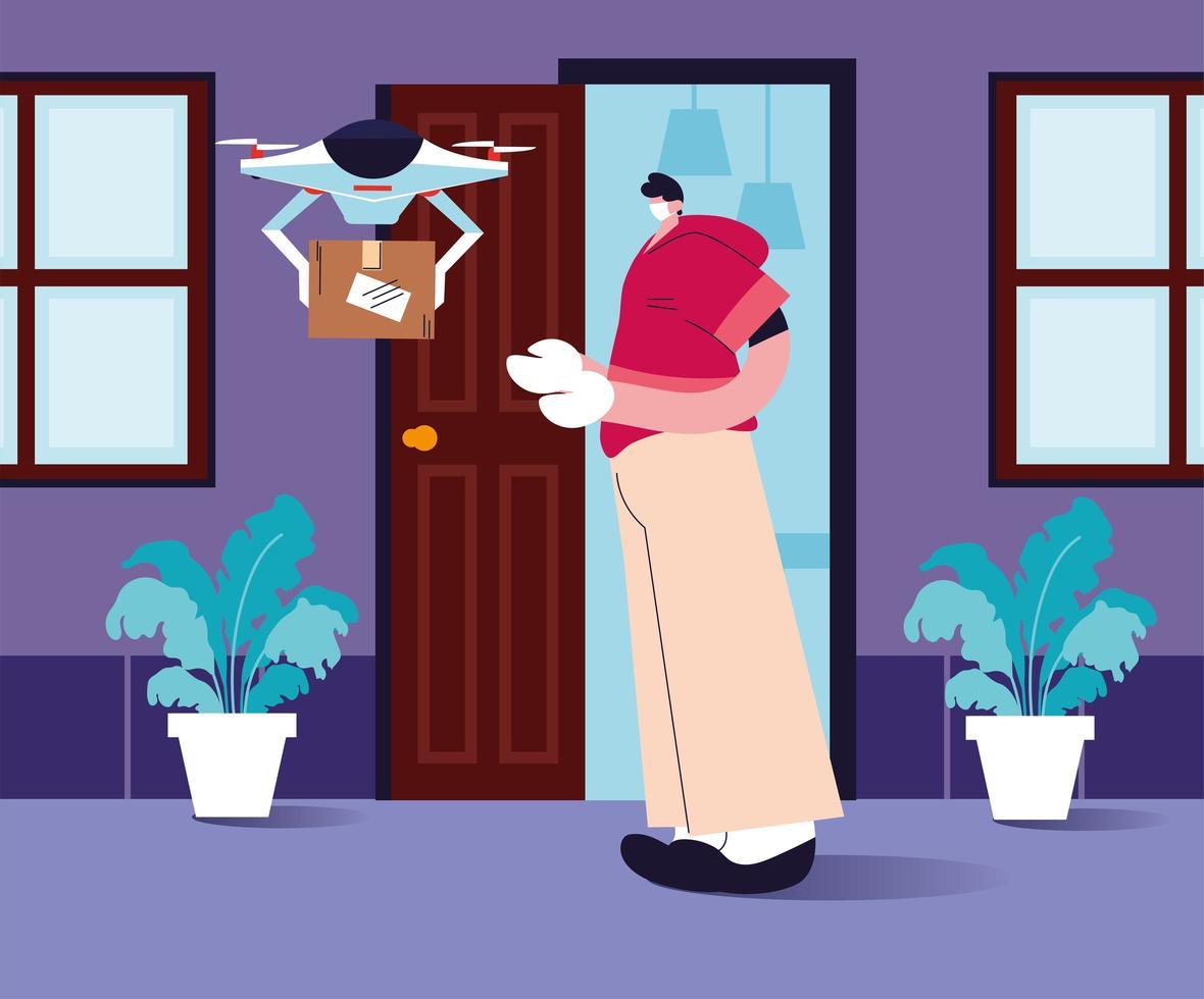 drönare bär shoppinglådan till dörren vektor