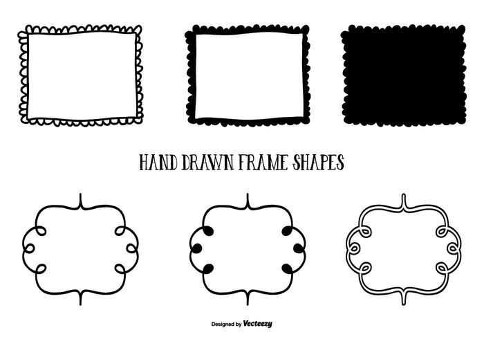 Nette Hand gezeichnete Art Rahmenformen vektor