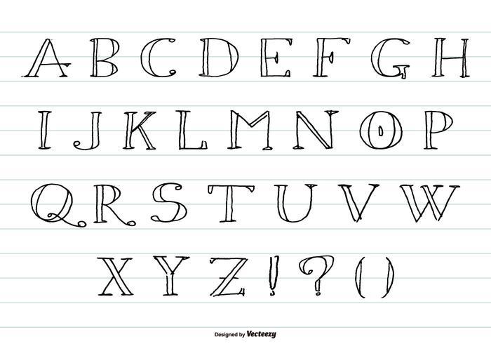 Hand Drawn Sketchy Alphabet Sammlung vektor