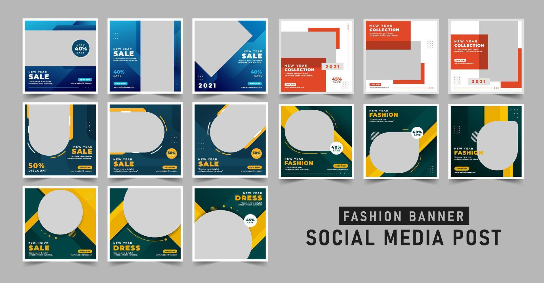 shopping försäljning banner sociala medier post mall set vektor
