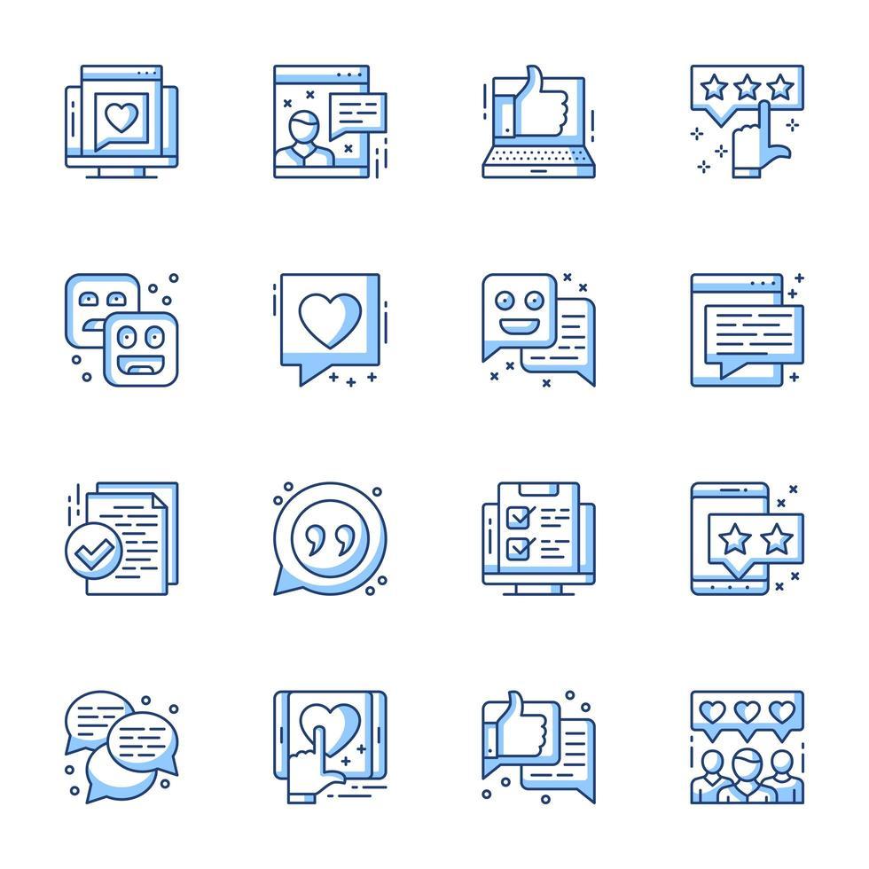 granska och användartillfredsställelse linje-ikonuppsättning vektor