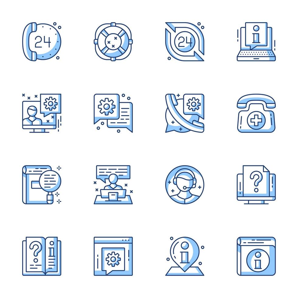 Kundendienst Line-Art Icon Set vektor
