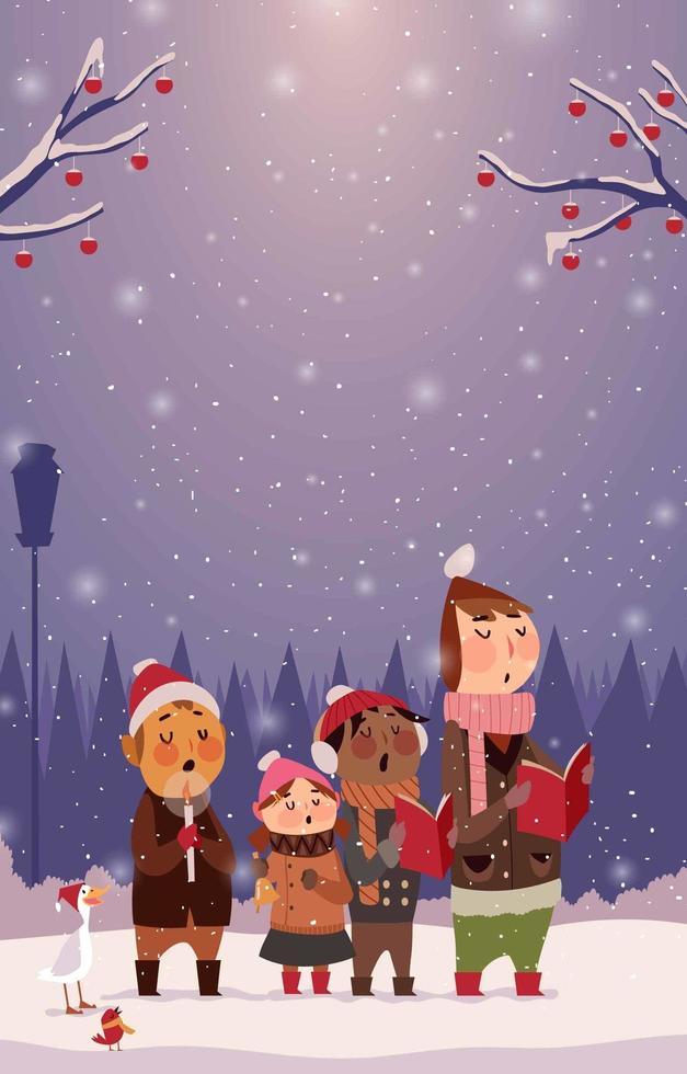 barn som sjunger julsång på snöig dag vektor
