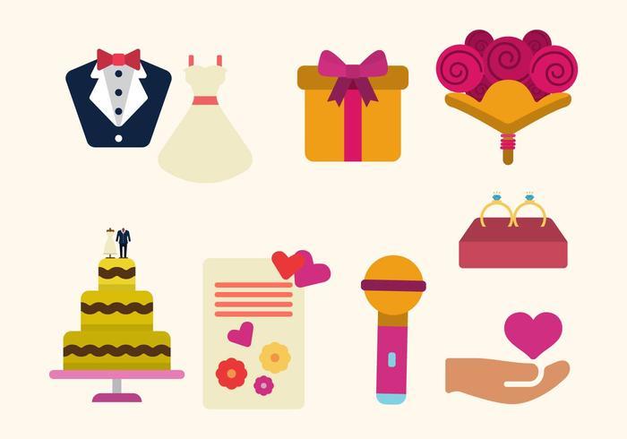 Flache Hochzeit Vektoren