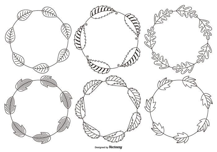 Skissartade dekorativ Leaf Ramar vektor