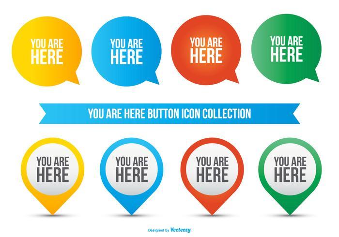 Du är här Icon Collection vektor