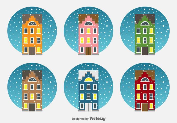 Weihnachten Niederlande Häuser Vektor-Icons vektor