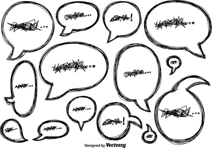 Vector Doodle Pratbubblor Ikoner
