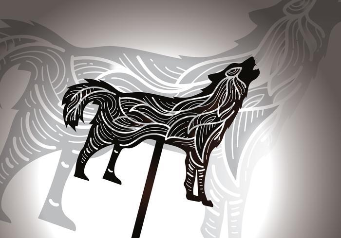 Gratis Howling Wolf Shadow Puppet vektorillustration vektor