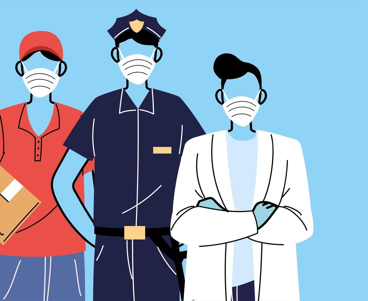 verschiedene Berufe Menschen mit Gesichtsmasken vektor