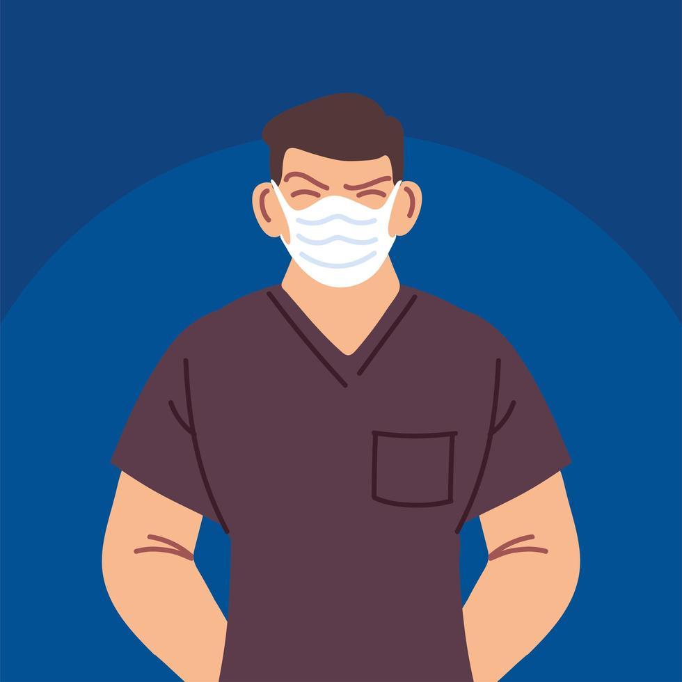 manlig sjuksköterska som använder ansiktsmask vektor
