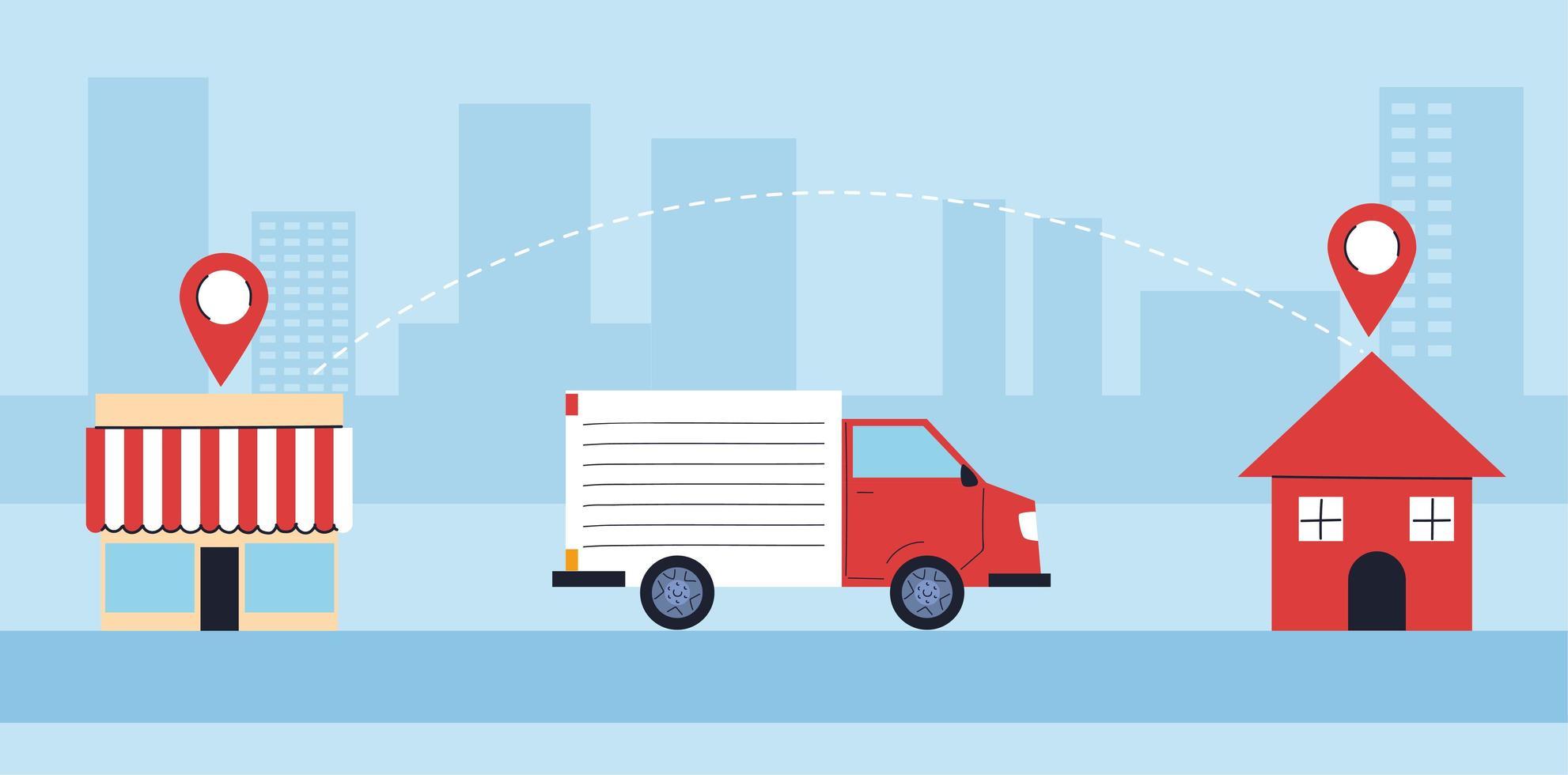 leverans lastbil bär levererar till personer i karantän vektor