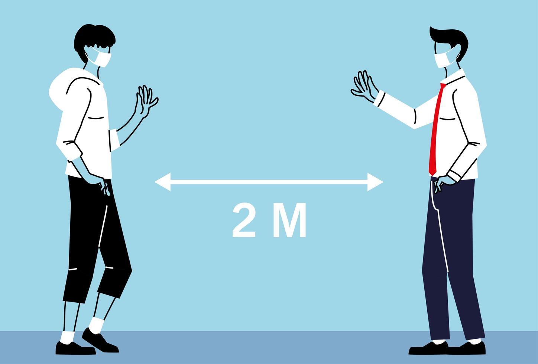 social distansering mellan män med masker vektor