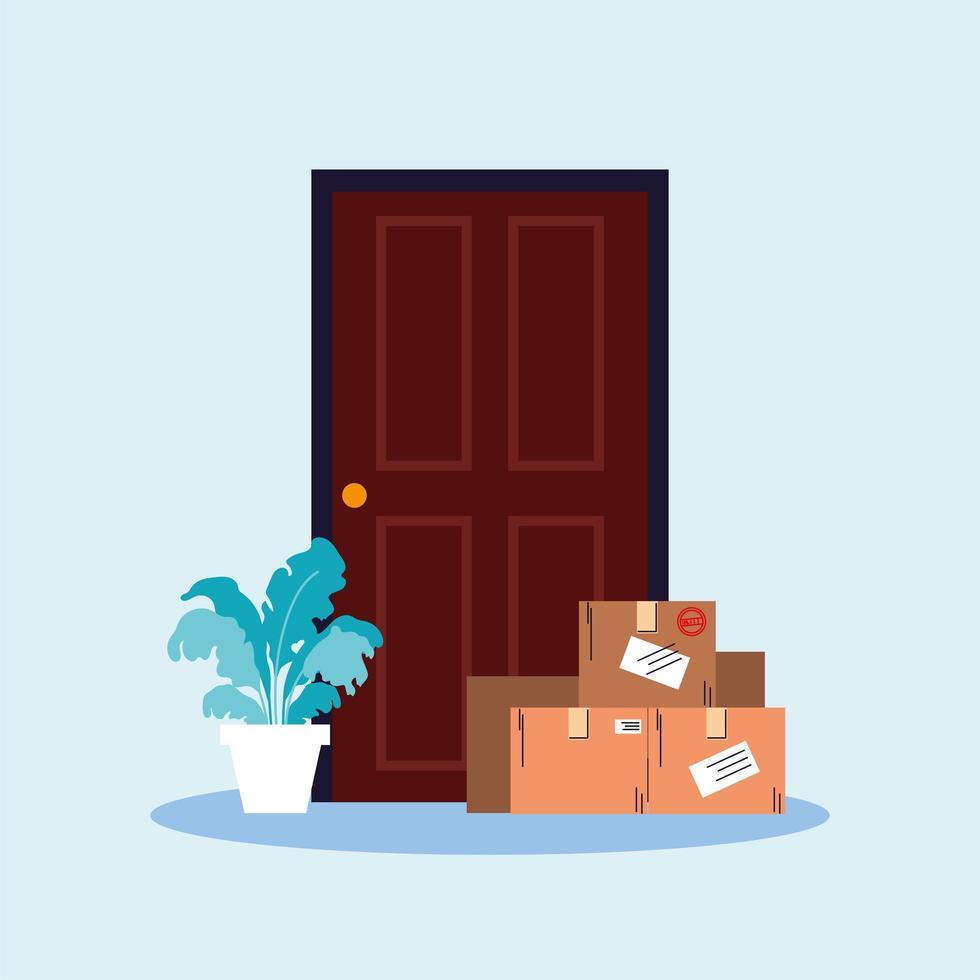 Kisten mit Einkäufen stehen an der Tür vektor