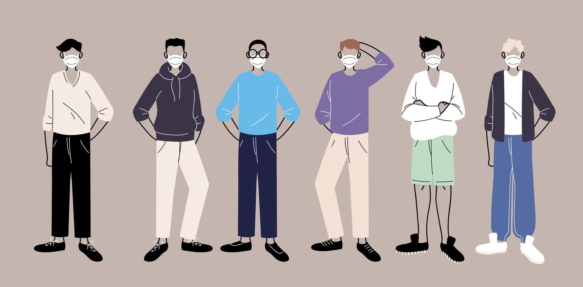 Menschen in schützenden medizinischen Gesichtsmasken vektor