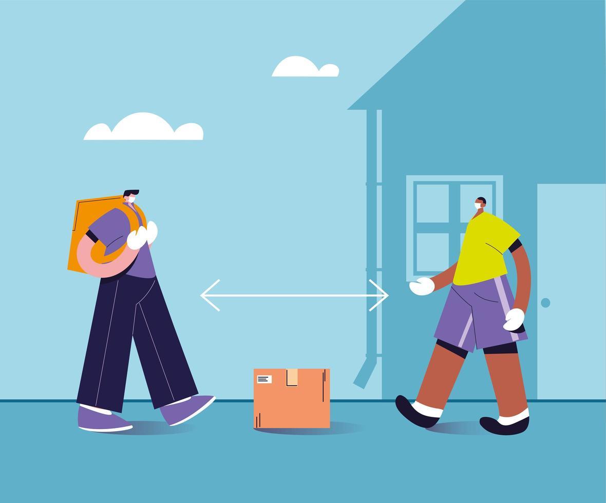 leveransman lämnar lådan på säkert avstånd vektor