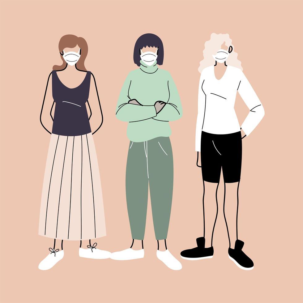 kvinnor som bär medicinska ansiktsmasker vektor