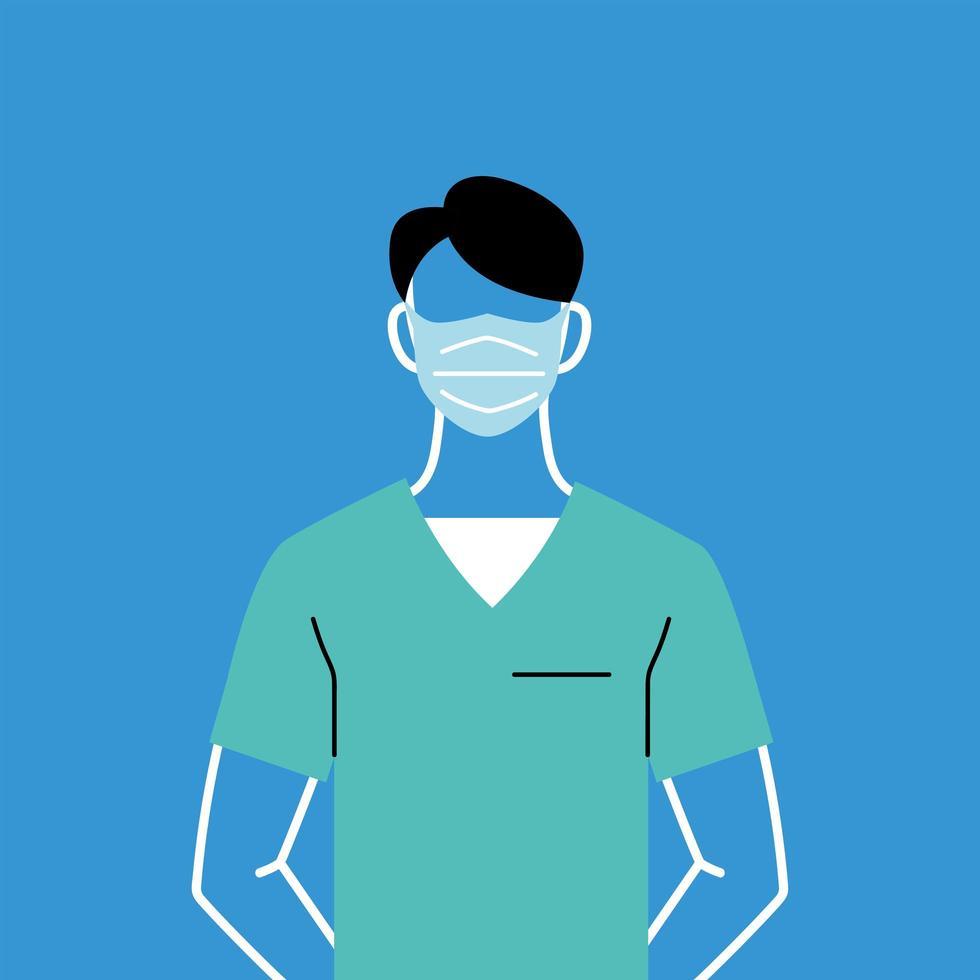 manlig läkare med mask och uniform vektor