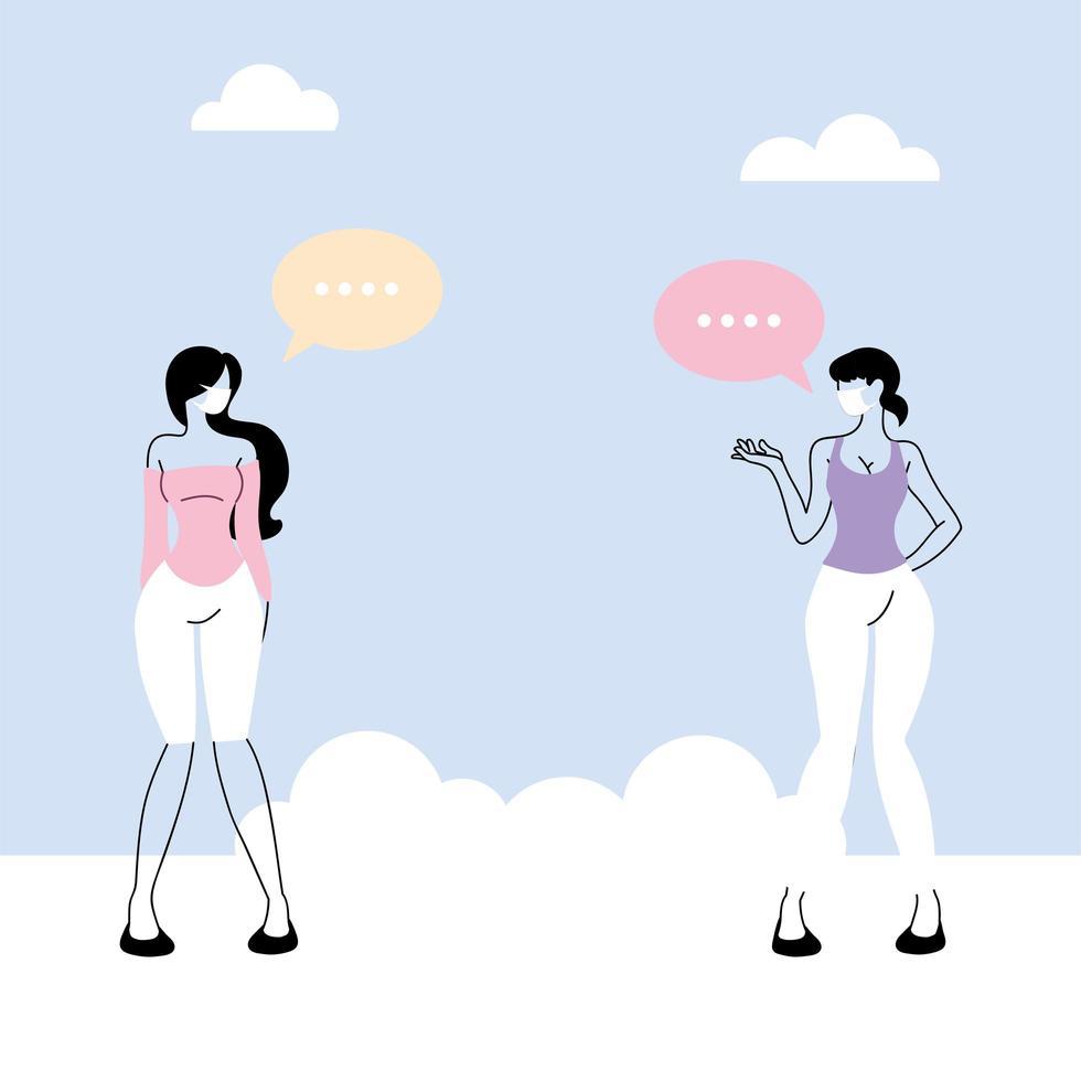 kvinnor pratar med avstånd för att förhindra koronavirus vektor