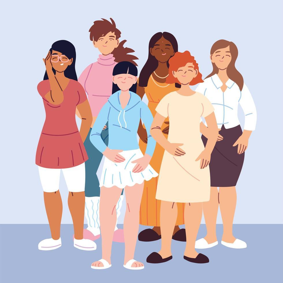 mångkulturella människor, kvinnor med olika i avslappnade kläder vektor