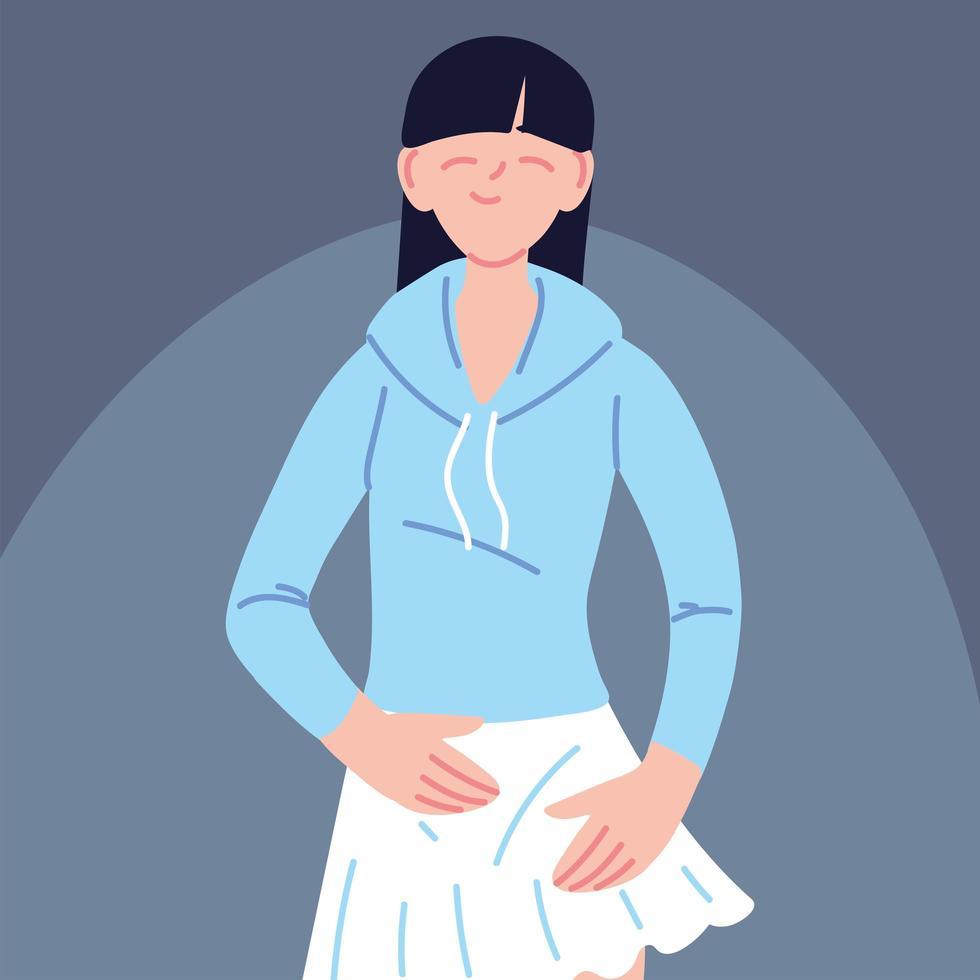Porträt der jungen asiatischen Frau, die Freizeitkleidung trägt vektor