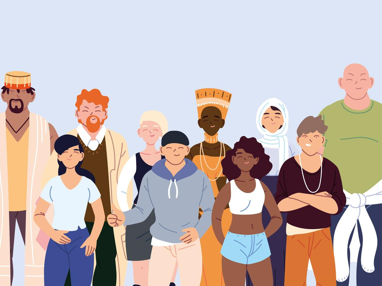 Gruppe von multikulturellen Menschen in Freizeitkleidung stehend vektor