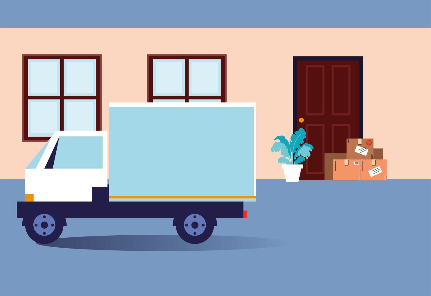 lådor med inköp står vid dörren vektor