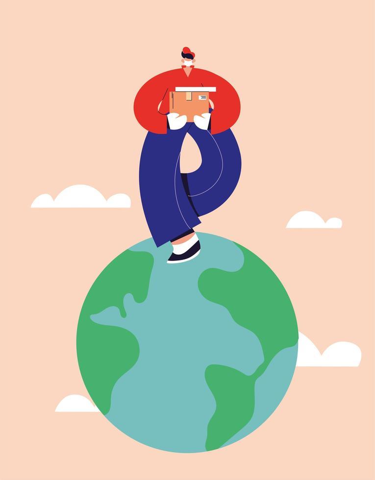 leveransman levererar varor runt om i världen vektor