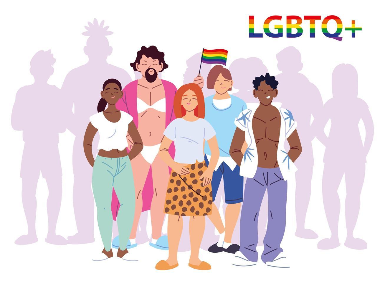 grupp människor med lgbtq gay pride symbol vektor
