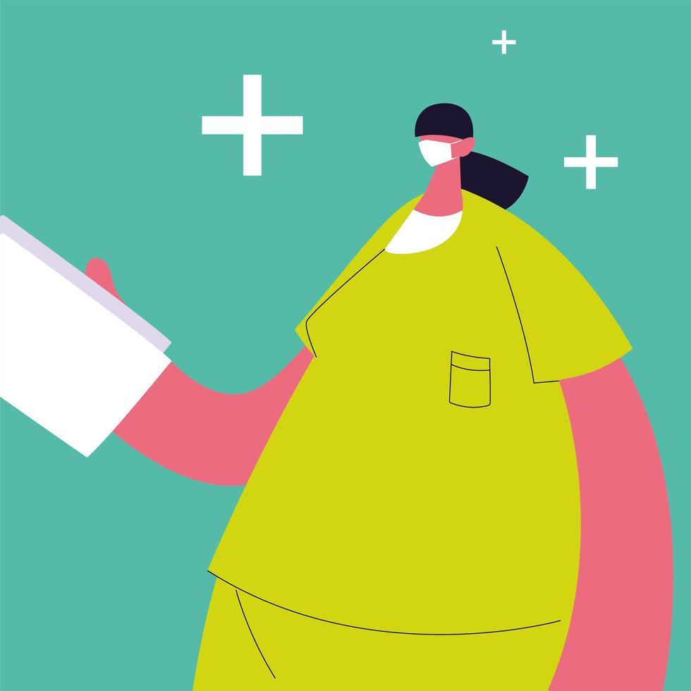 kvinnlig läkare står, medicinsk personal vektor