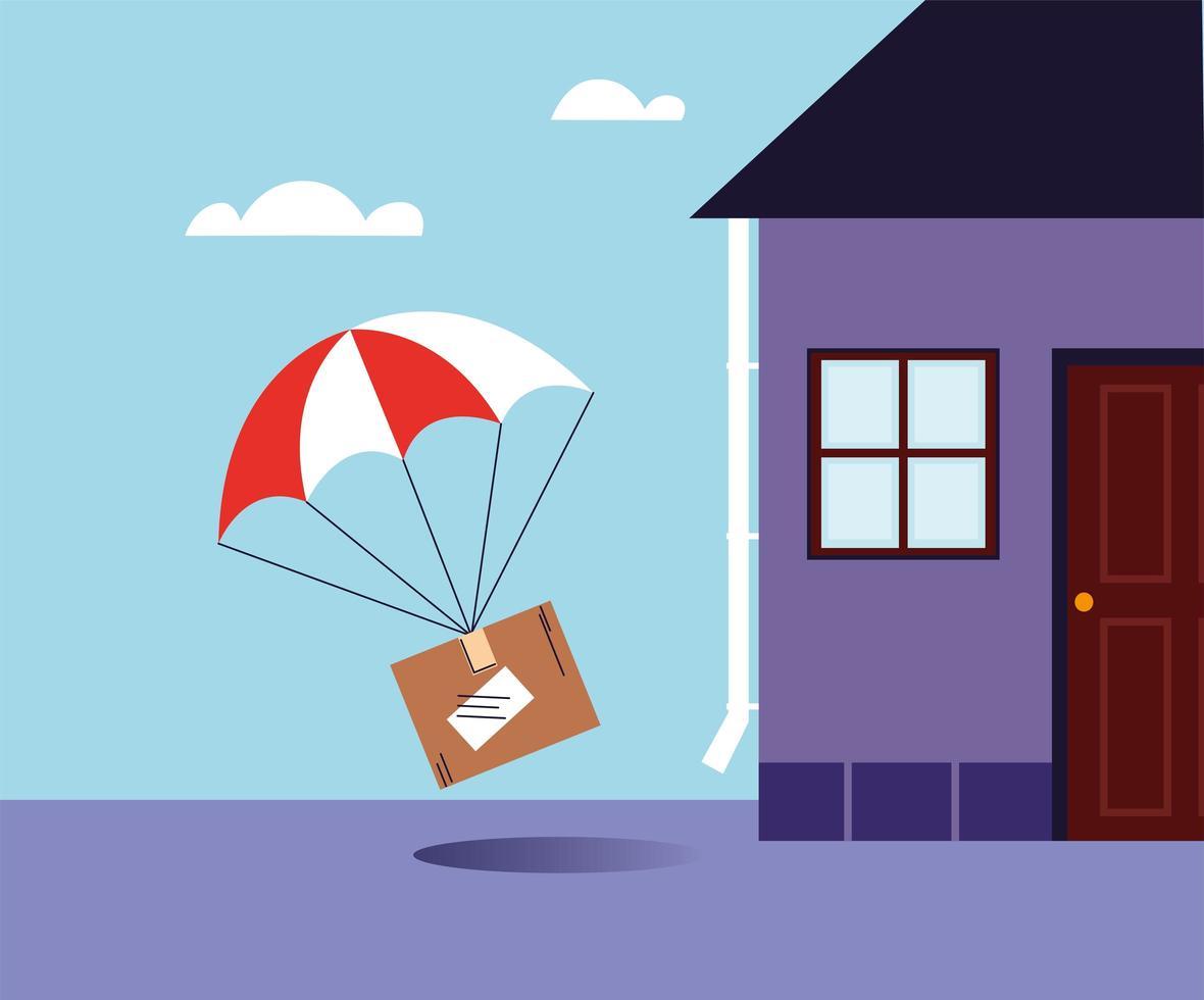 låda med fallskärmsleverans vid dörrhuset vektor