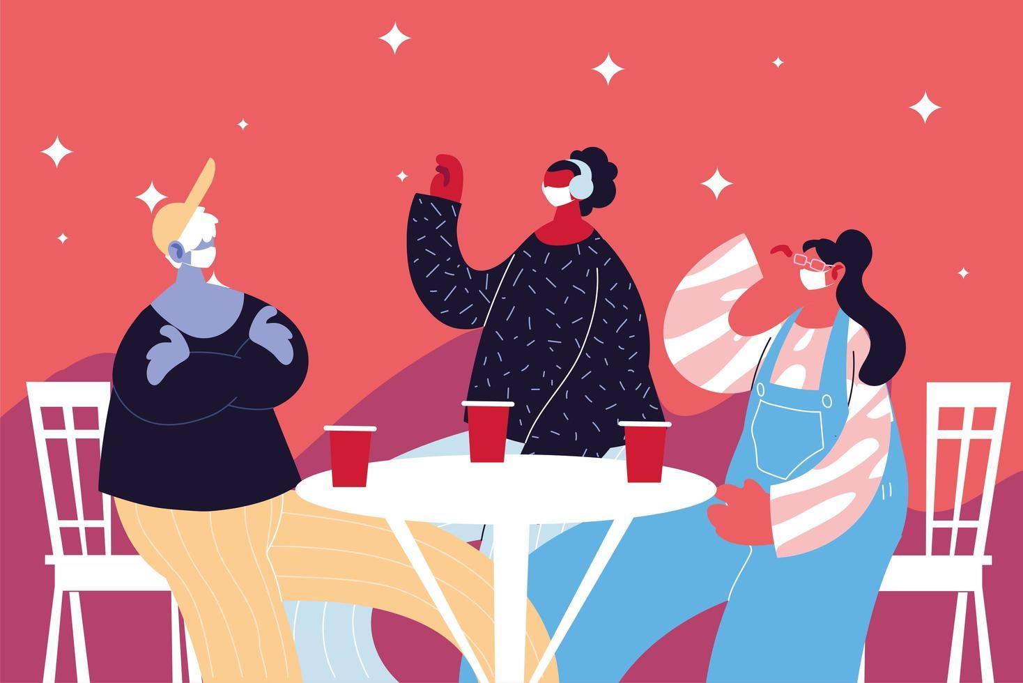 grupp människor med masker som dricker och firar vektor