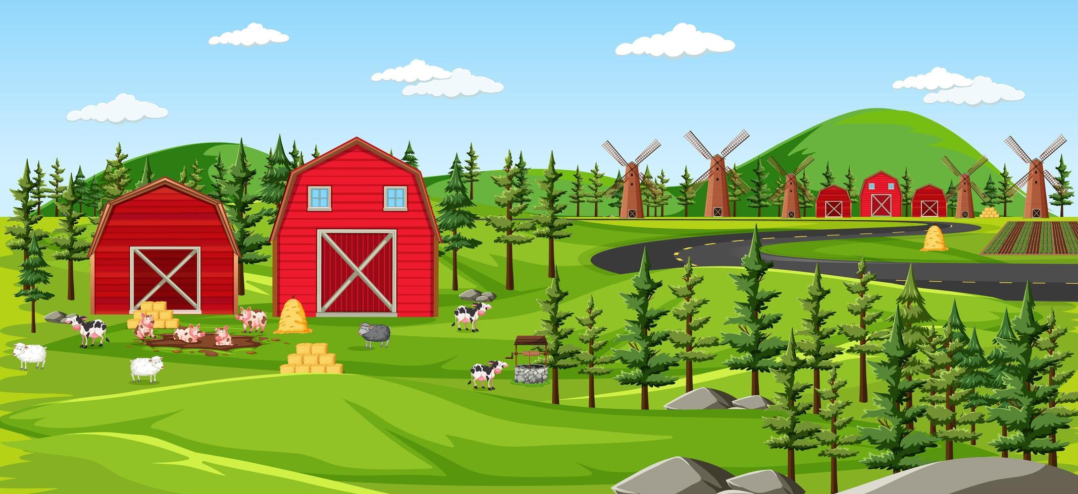 Bauernhof Natur mit Scheunen Landschaftsszene vektor