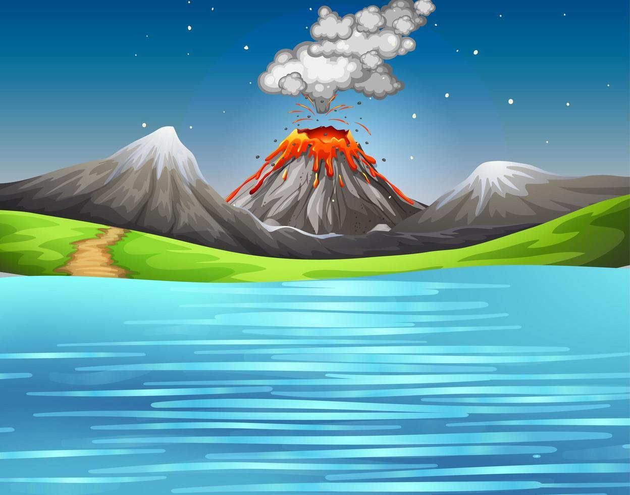 Vulkanausbruch in der Naturwaldszene vektor