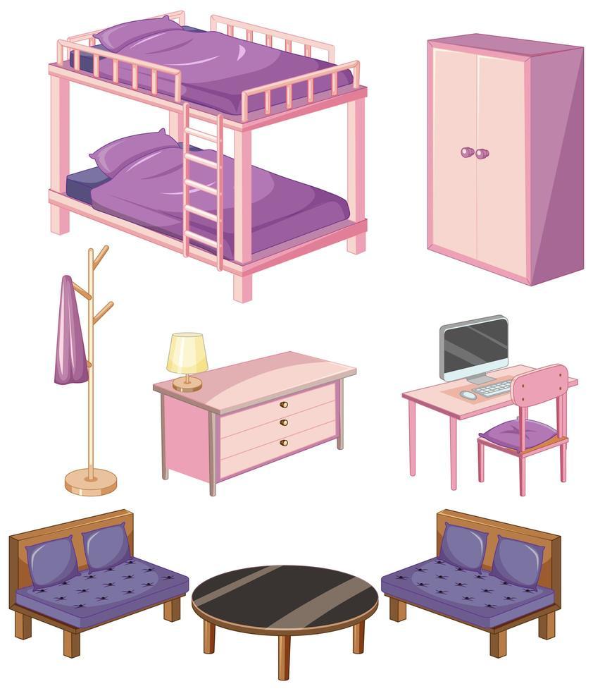 föremål för sovrumsmöbler vektor