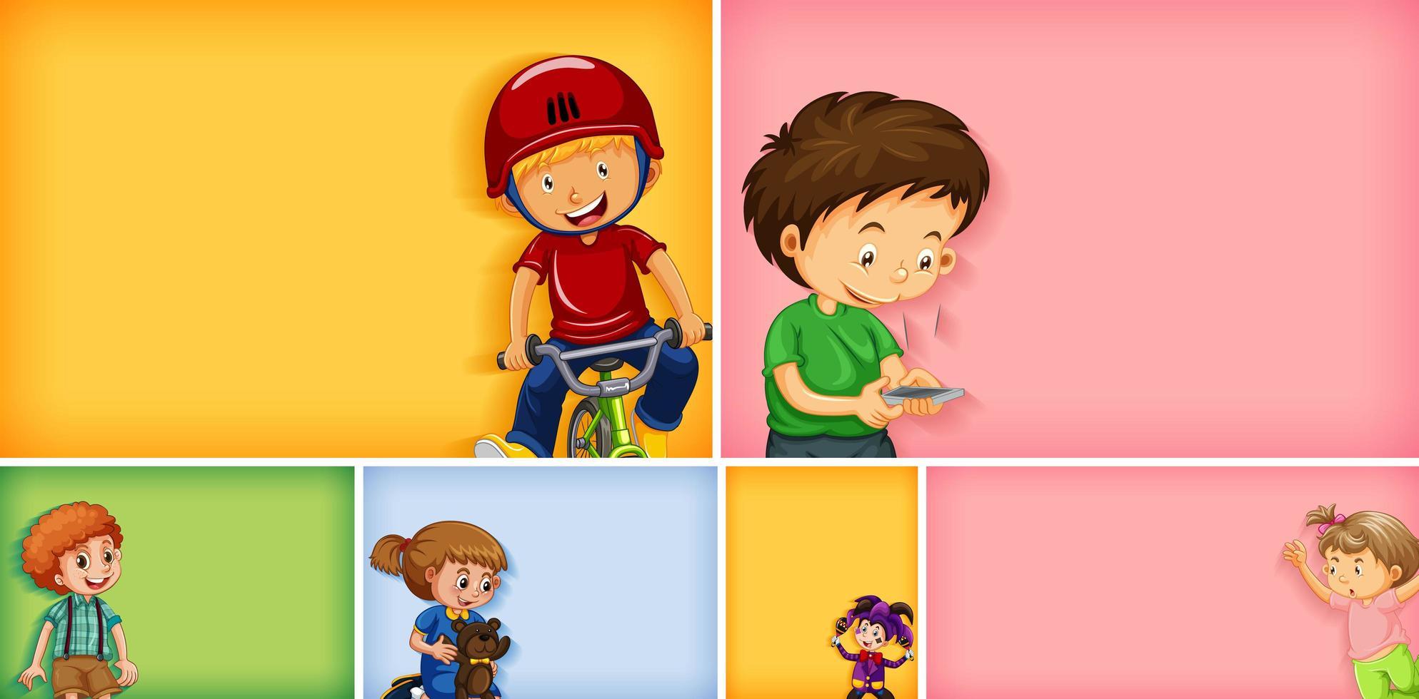 Satz von verschiedenen Kindercharakteren auf verschiedenen Farben vektor