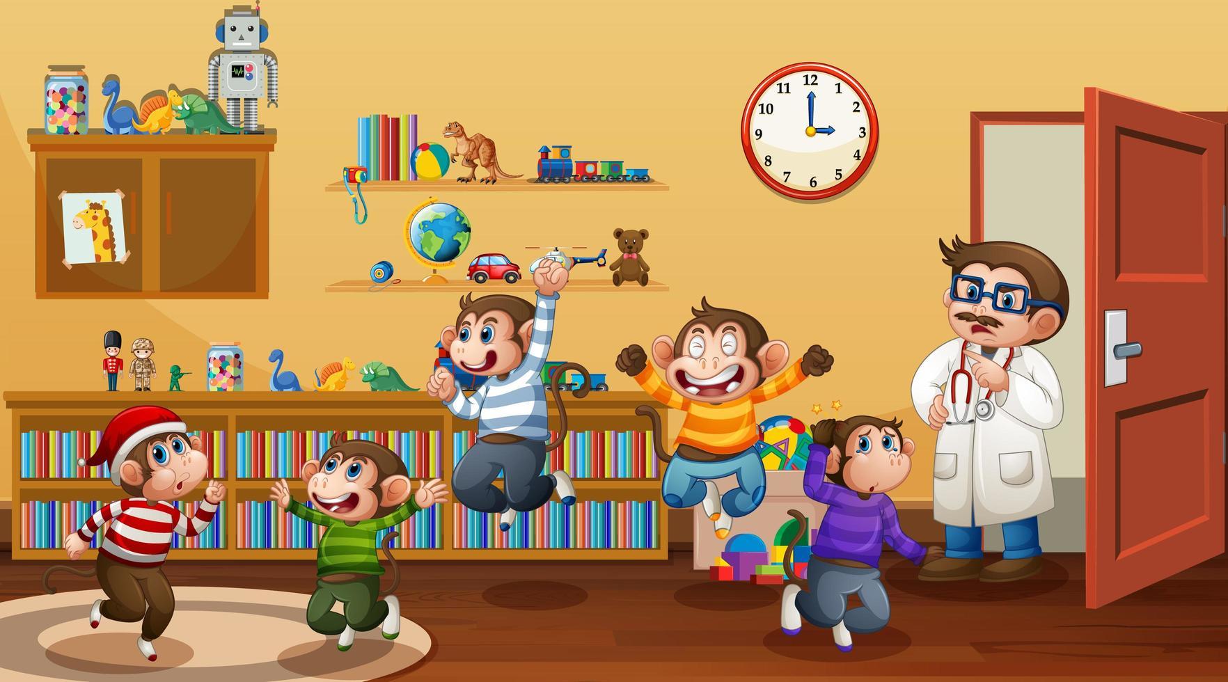 fem små apor som hoppar i rumsscenen vektor