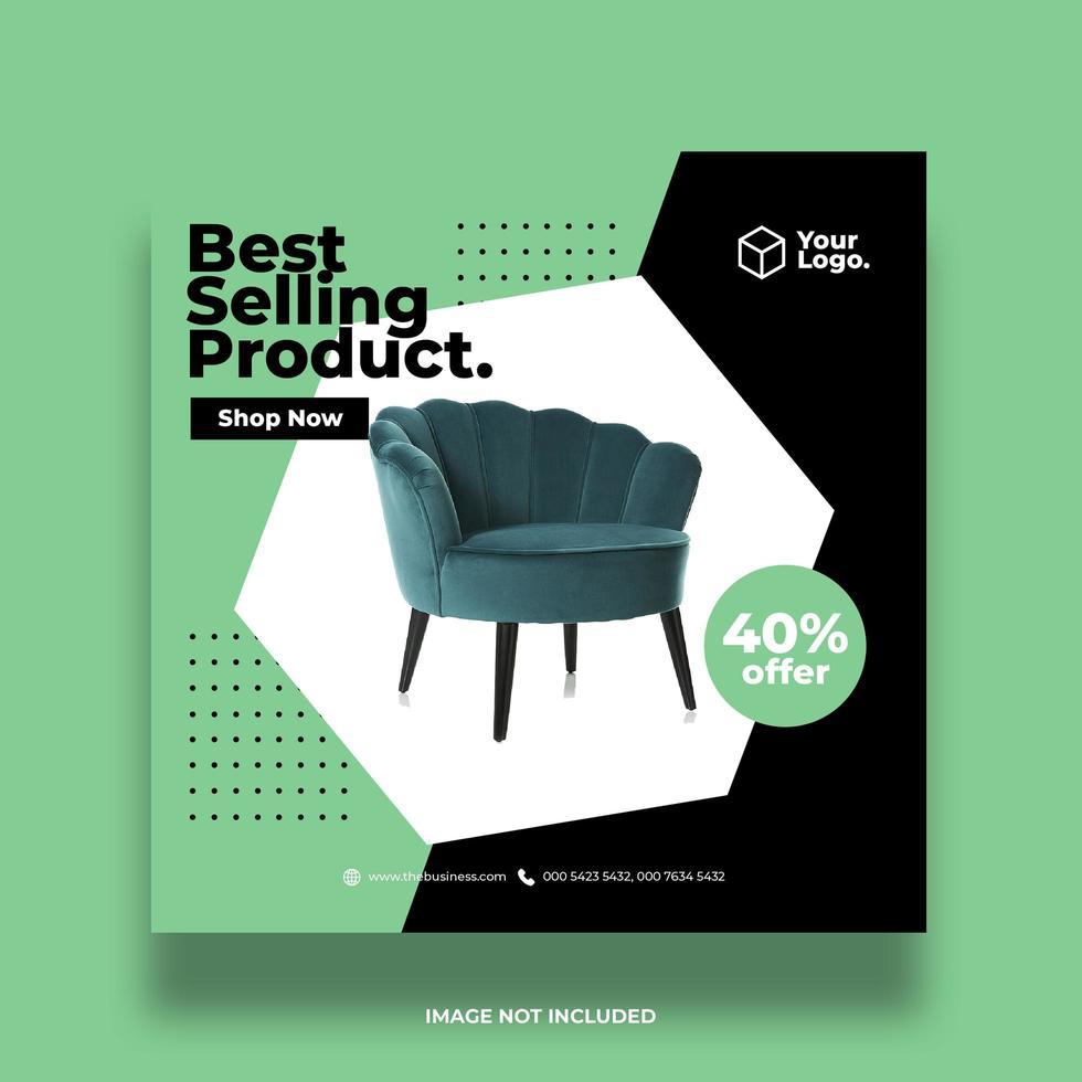 gröna och svarta möbler marknadsföring sociala medier banner vektor