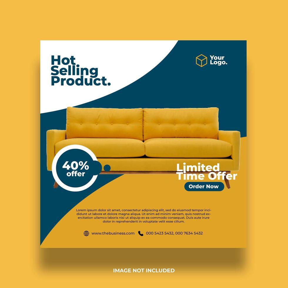 gula och kricka möbler sociala medier banner vektor