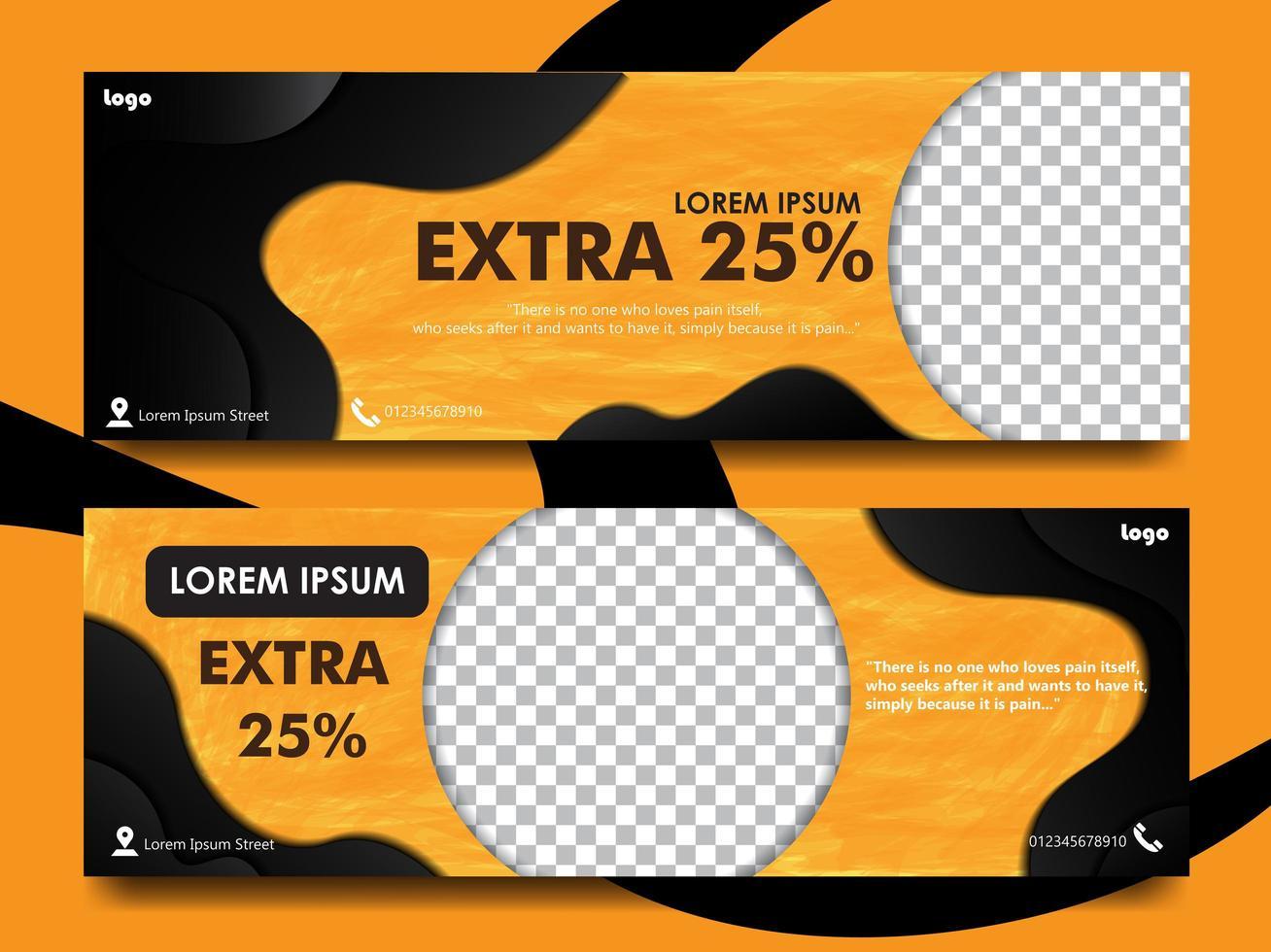 ställa in banner design med orange färg och svart vektor