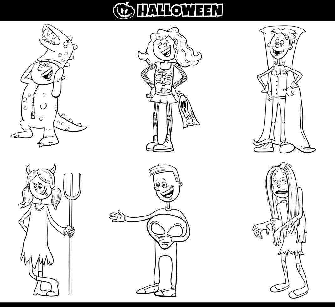 barn i halloween kostymer ställa in tecknad målarbok sida vektor