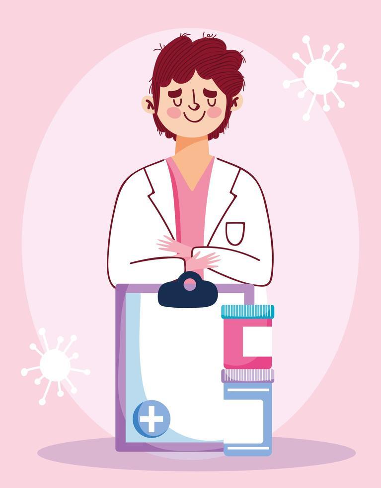 läkare med Urklipp och medicin vektor