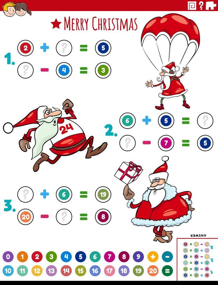 matematisk tillägg och subtraktion pedagogisk uppgift med santa vektor