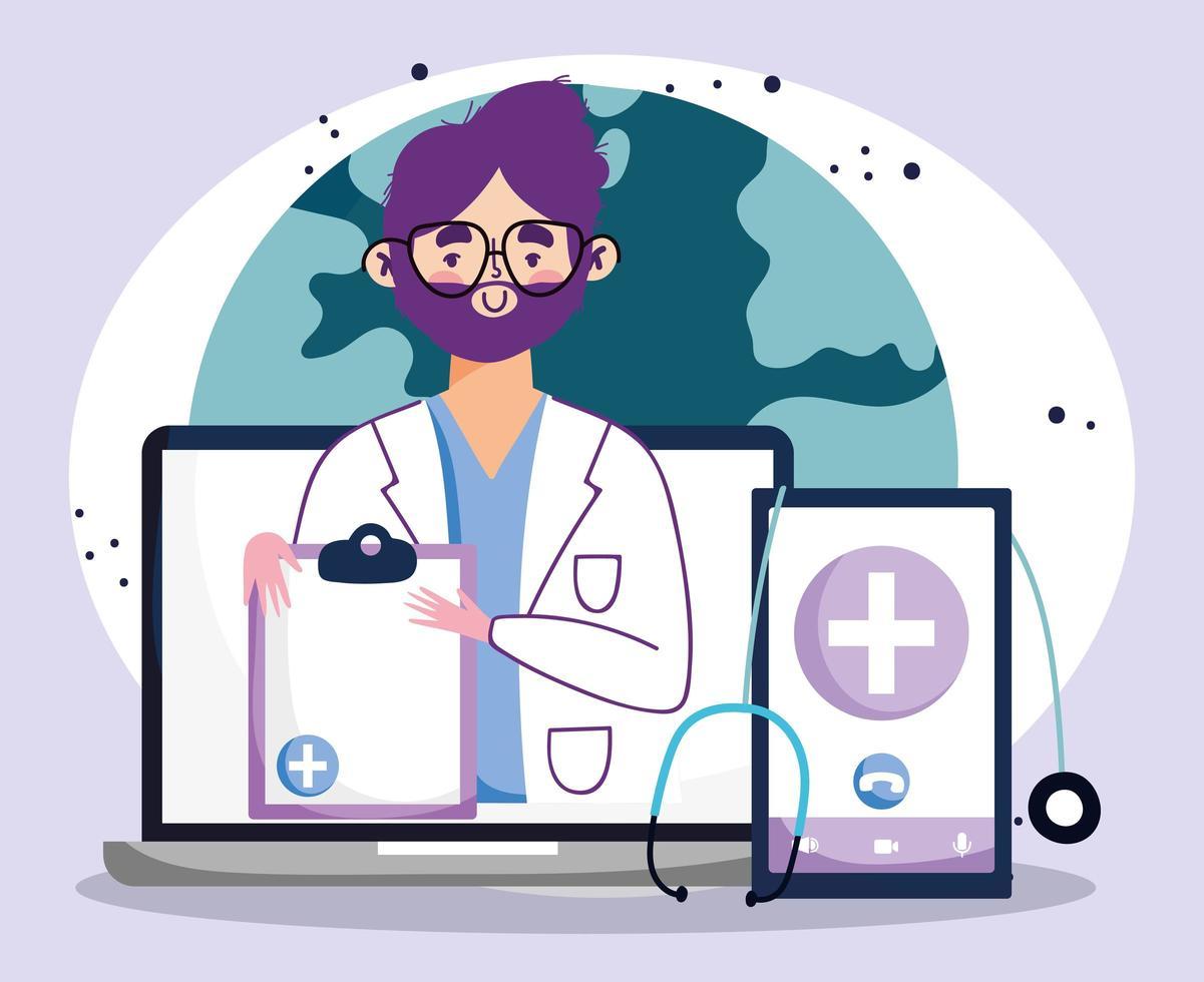 online läkarbesök koncept med läkare och prylar vektor