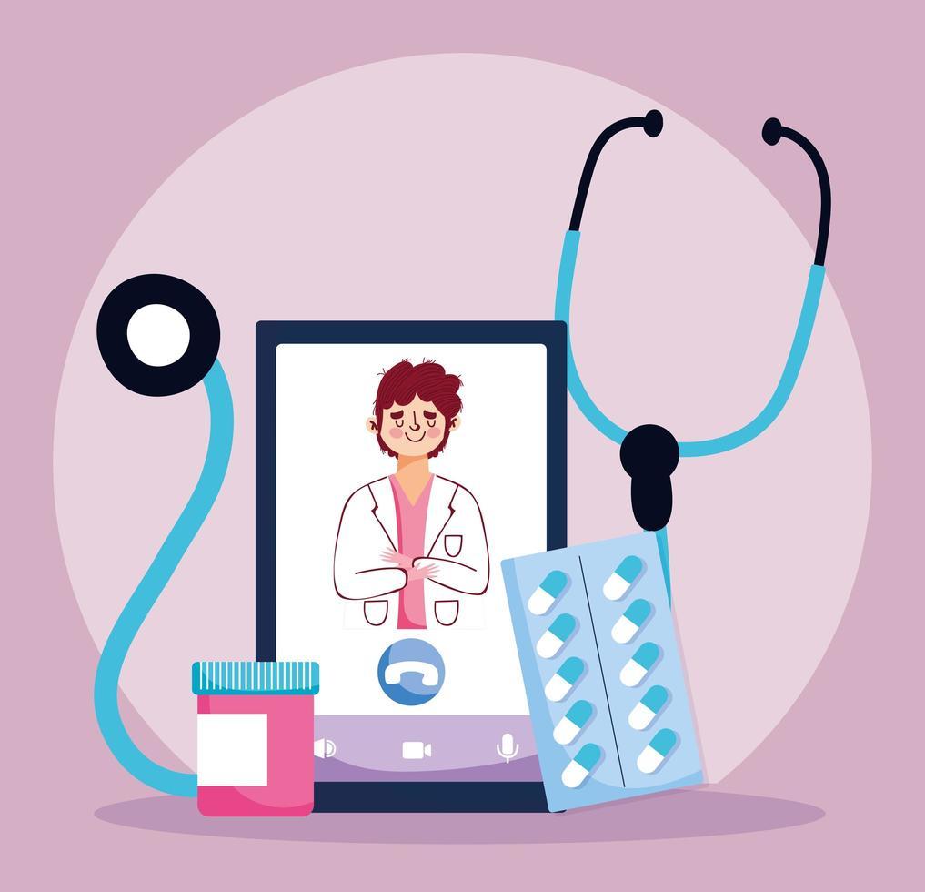 online vård koncept med läkare och medicin vektor