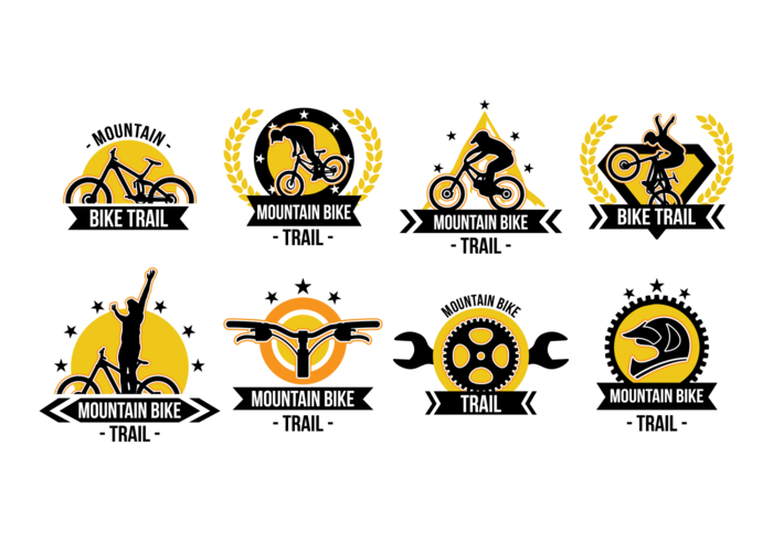 Bike Trail Labels Vector