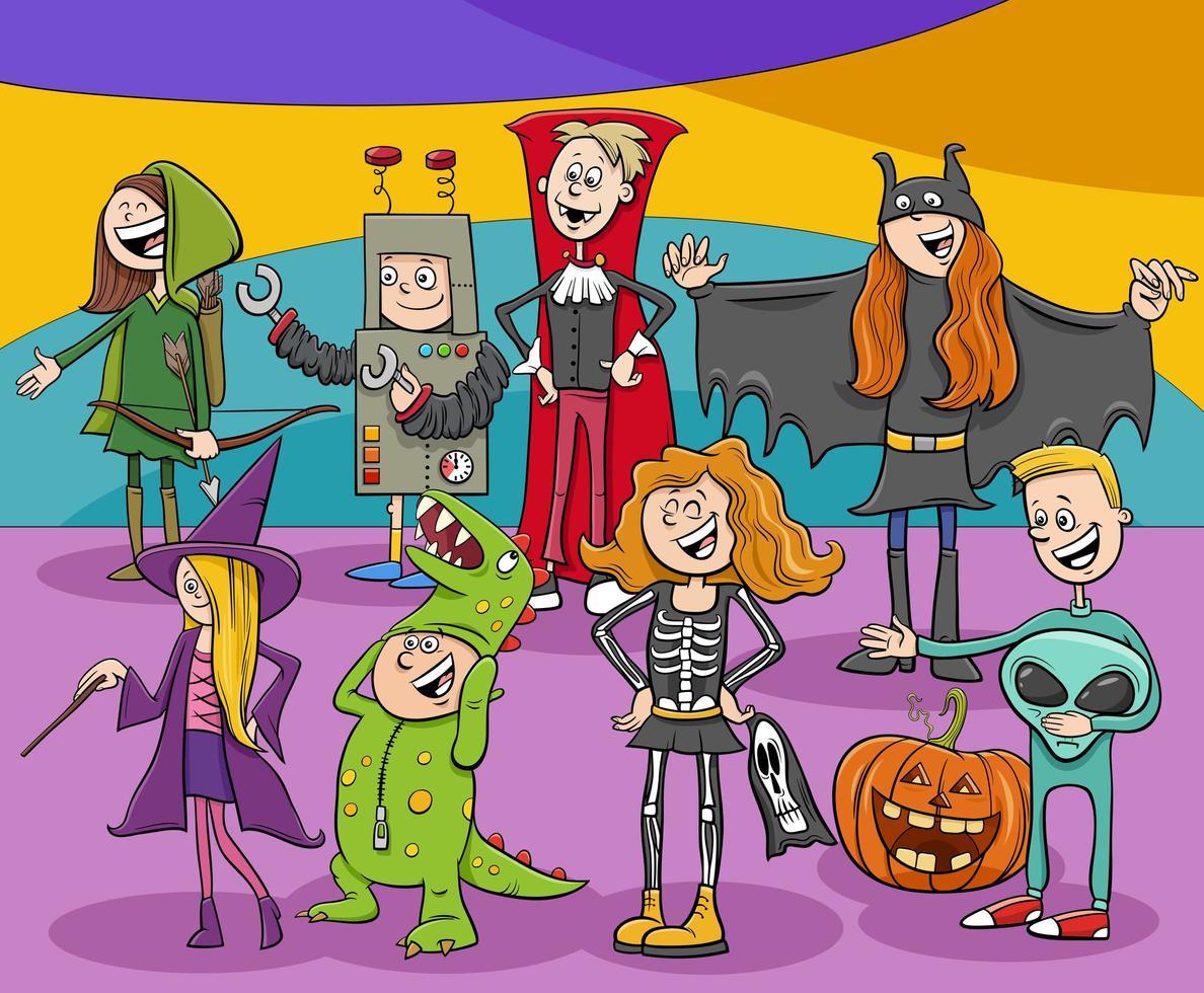 Zeichentrickfigurengruppe bei Halloween-Party vektor