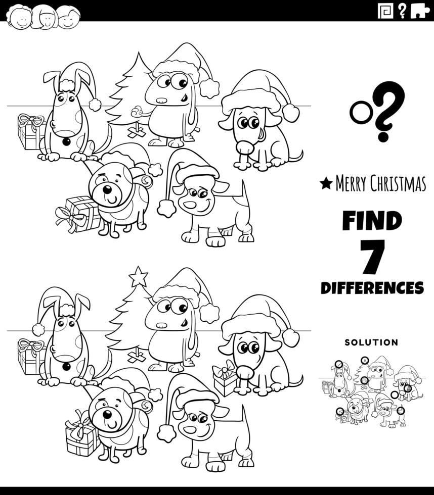 skillnadsspel med hundar på juletid vektor