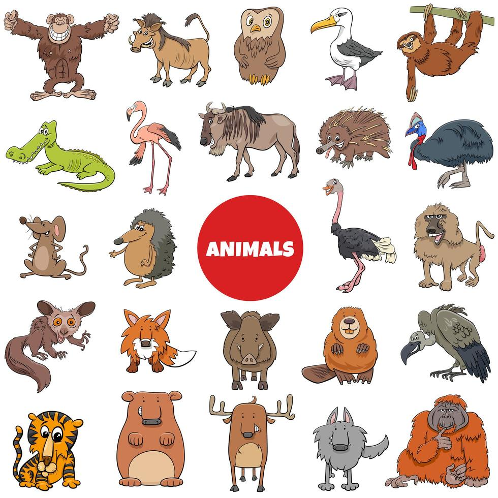 Cartoon wilde Tiere Charaktere großen Satz vektor